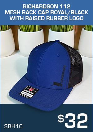 SBH10 Richardson 112 Mesh Back Cap  Royal/Black with raised rubber logo $32
