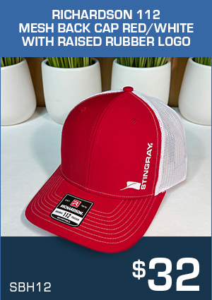 SBH12 Richardson 112 Mesh Back Cap  Red/White with raised rubber logo $32